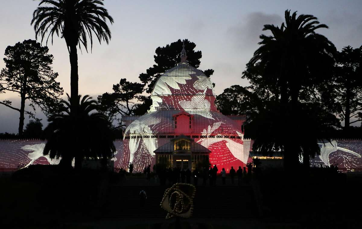 The Conservatory of Flowers light display, a part of the Citywide Summer of Love 50th anniversary, is tested before it's Wednesday night debut on Monday, June 19, 2017 in San Francisco, Calif.