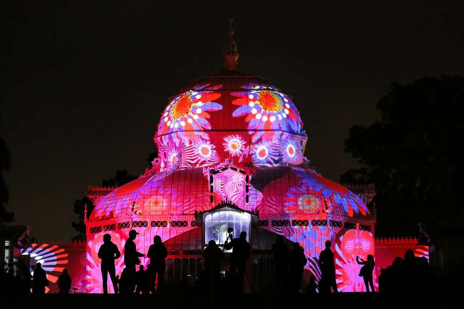 The Conservatory of Flowers light display, a part of the Citywide Summer of Love 50th anniversary, is tested before it's Wednesday night debut on Monday, June 19, 2017 in San Francisco, Calif. Photo: Amy Osborne, Special To The Chronicle