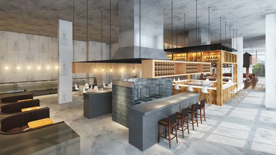 Renderings of Bravery Chef Hall, a new dining hall concept with five distinct chef-led stations being proposed for a 9,000-square-foot space on the ground floor of the Aris Market Square apartment tower under construction at 409 Travis. Photo: Bravery Chef Hall