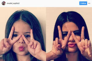 A Utah 4-year-old recreates actress Selena Gomez's most popular Instagram photos to grow her following. Source:  Instagram