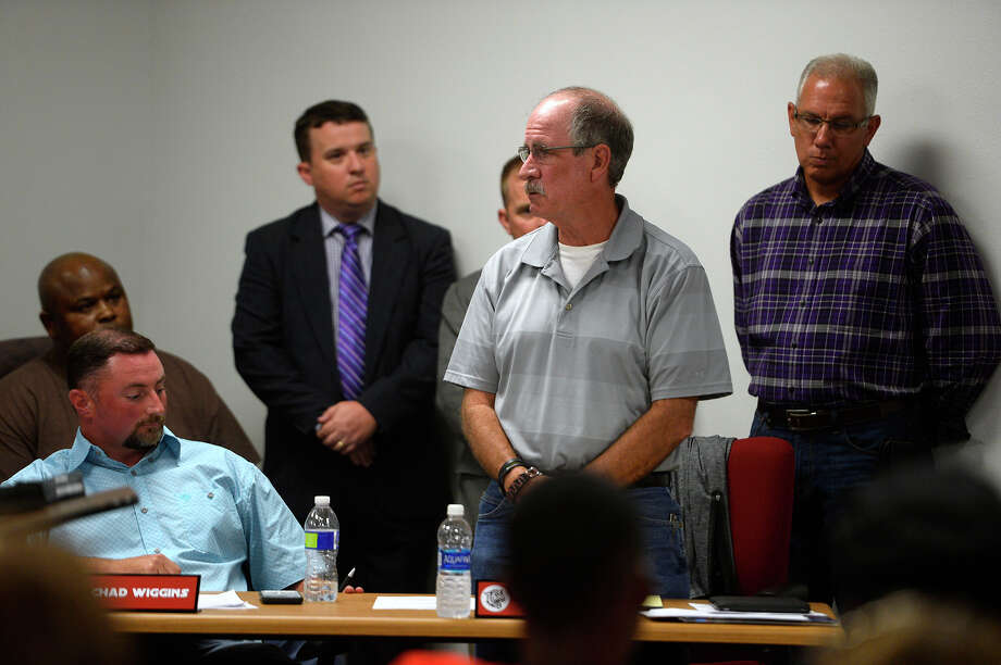 Kirbyville CISD trustee Joe Brecht stands to address the crowd during the school board meeting on Monday evening.  Photo taken Monday 6/19/17 Ryan Pelham/The Enterprise Photo: Ryan Pelham / ©2017 The Beaumont Enterprise/Ryan Pelham
