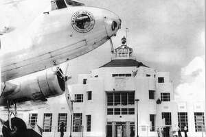 A Braniff Airways plane outside of Hobby Airport. Photo provided by the 1940 Air Terminal Museum.