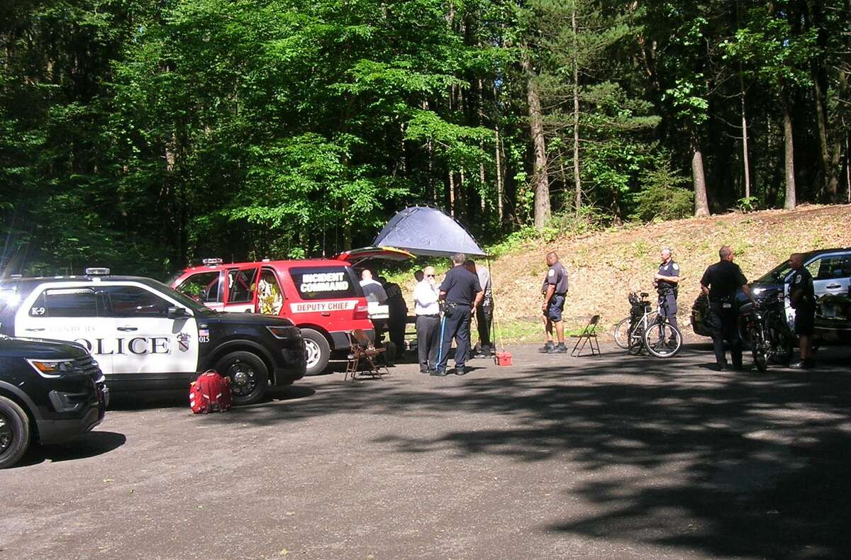 Emergency officials have set up a command post at Farrington Woods in Danbury as the search continues for a moutain biker who has been missing since late Monday night.