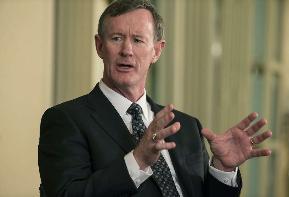FILE - In this Feb. 5, 2015, file photo, University of Texas System Chancellor Bill McRaven speaks with Texas Tribune CEO Evan Smith during an interview in Austin, Texas. McRaven is running into political problems in his role as chancellor of the University of Texas System. The retired Navy admiral who planned the raid that killed Osama Bin Laden faces an uncertain future as chancellor, as his three-year contract expires at the end of 2017. After multiple clashes with lawmakers and a new makeup of the Board of Regents he works for, it's an open question as to whether he'll be back. (Ricardo B. Brazziell/Austin American-Statesman via AP, File) Photo: Ricardo B. Brazziell, MBO / Associated Press / Austin American-Statesman