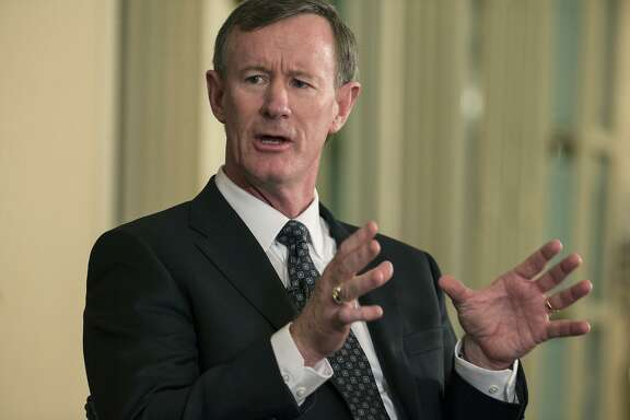 FILE - In this Feb. 5, 2015, file photo, University of Texas System Chancellor Bill McRaven speaks with Texas Tribune CEO Evan Smith during an interview in Austin, Texas. McRaven is running into political problems in his role as chancellor of the University of Texas System. The retired Navy admiral who planned the raid that killed Osama Bin Laden faces an uncertain future as chancellor, as his three-year contract expires at the end of 2017. After multiple clashes with lawmakers and a new makeup of the Board of Regents he works for, it's an open question as to whether he'll be back. (Ricardo B. Brazziell/Austin American-Statesman via AP, File)