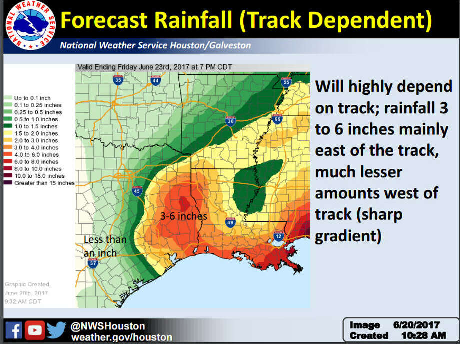 The National Weather Service issued a tropical storm watch Tuesday morning for the Houston region, which includes Harris, Chambers, Liberty and Galveston counties.Keep going for a look at more projections of the storm's impact.  Photo: Nation Weather Service
