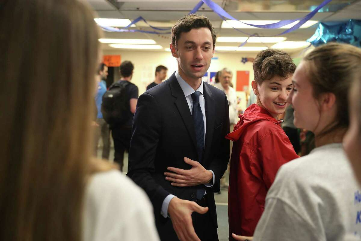 TUCKER, GA - JUNE 20: Democratic candidate Jon Ossoff visits a campaign office to speak with volunteers and supporters on Election Day as he runs for Georgia's 6th Congressional District on June 20, 2017 in Tucker, Georgia. Mr. Ossoff is running in a special election against the Republican candidate Karen Handel to replace Tom Price, who is now the Secretary of Health and Human Services. The election will fill a congressional seat that has been held by a Republican since the 1970s. (Photo by Joe Raedle/Getty Images)