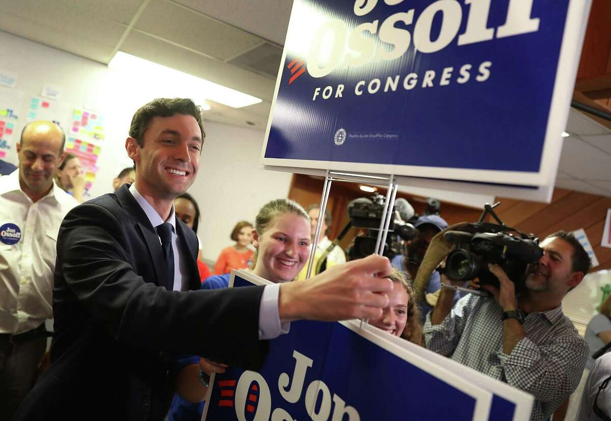 SANDY SPRINGS, GA - JUNE 20: Democratic candidate Jon Ossoff visits a campaign office to speak with volunteers and supporters on election day as he runs for Georgia's 6th Congressional District on June 20, 2017 in Sandy Springs, Georgia. Ossoff is running in a special election against the Republican candidate Karen Handel to replace Tom Price, who is now the Secretary of Health and Human Services. The election will fill a congressional seat that has been held by a Republican since the 1970s. (Photo by Joe Raedle/Getty Images)