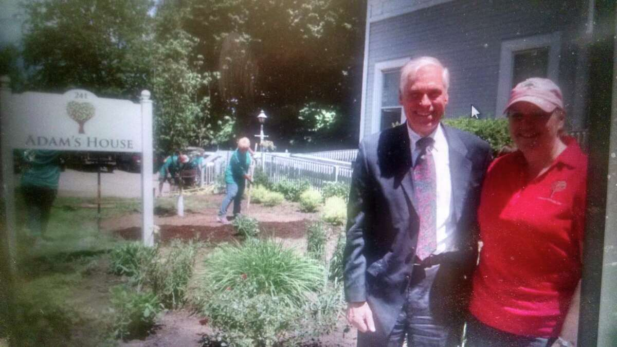 Valley Community Foundation Board Chair Alan Tyma and Adam's House Founder Allison Wysota in front of newly planted garden. Photo courtesy of Susan O'Reilly of Adam's House.