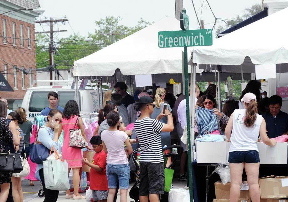 The annual Sidewalk Sales organized by the Greenwich Chamber of Commerce on Greenwich Avenue. Photo: Bob Luckey Jr. / Hearst Connecticut Media / Greenwich Time