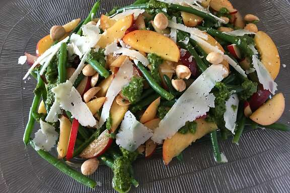 Green bean and stone fruit salad with pesto, marcona almonds and shaved pecorino Romano