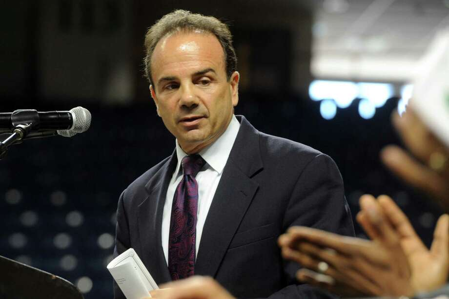 Mayor Joe Ganim speaks at Graduation Exercise for the Bassick High School Class of 2017, held at the Webster Bank Arena in Bridgeport, Conn. June 20, 2017. Photo: Ned Gerard, Hearst Connecticut Media / Connecticut Post