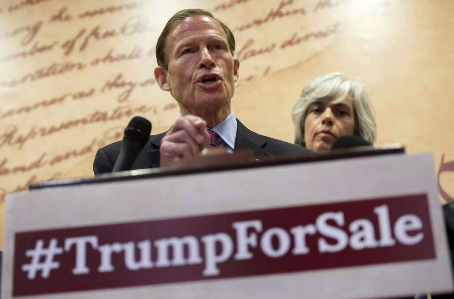 US Sen. Richard Blumenthal, D-Conn., speaks regarding a lawsuit they have filed against President Donald Trump for violating the emoluments clause of the US Constitution which bans Presidents from accepting payments, benefits or gifts from foreign states without the consent of Congress, during a press conference on Capitol Hill in Washington, DC, on Tuesday, June 20, 2017. Photo: Saul Loeb / AFP/Getty Images / AFP or licensors