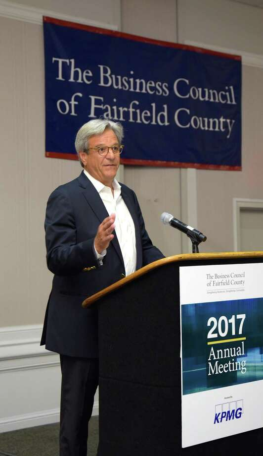 Forbes Media CEO and Executive Chairman Mike Perlis speaks at the Business Council of Fairfield County's annual business meeting, on Tuesday, June 20, 2017, at the Crowne Plaza hotel, in Stamford, Conn. Photo: John Vecchiolla /John Vecchiolla Photography