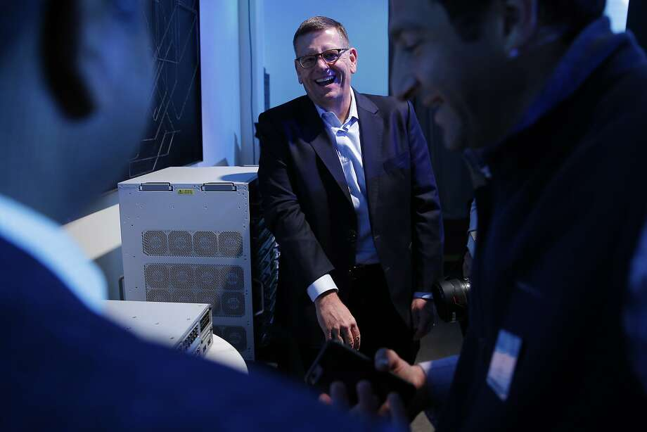 David Goeckeler, who is the senior vice president and general manager of Cisco's Networking and Security Business, stands next to the Catalyst 9000 during a news conference at the Pearl on Tuesday in San Francisco. Photo: Santiago Mejia, The Chronicle