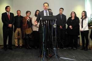 Attorney Joshua Koskoff and the Sandy Hook families that are suing the gun maker for providing the AR-15-type Bushmaster held a press conference at Koskoff, Koskoff & Bieder in Bridgeport, Conn. on Monday, Feb. 22, 2016.