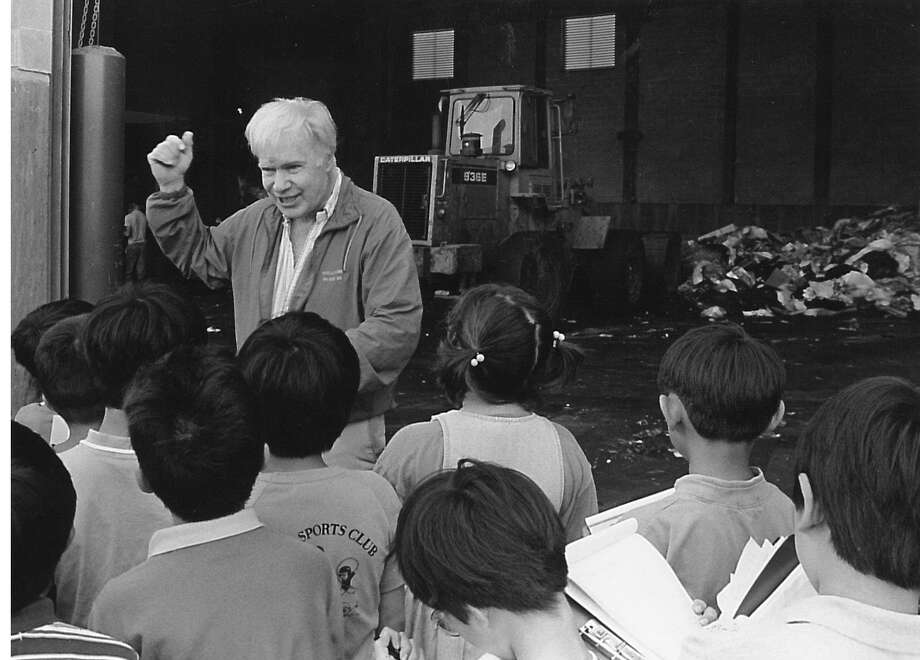 Japanese School of Greenwich students listen to Briggs Baugh talk about the trash disposal and recycling processes at the Holly Hill Lane Transfer Station on June 15, 1993. Photo: John Painter