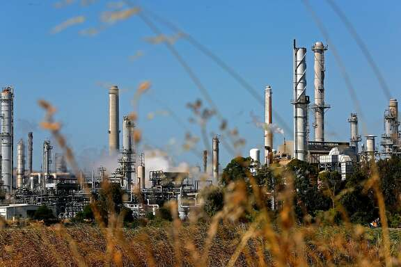 The Shell refinery in Martinez, Ca., as seen on Tuesday June 20, 2017. California is fighting to decide on a new extension to the cap and trade program.