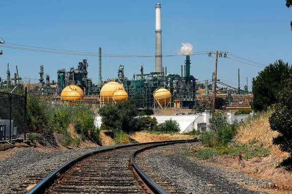 The Valero refinery in Bencia,Ca., as seen on Tuesday June 20, 2017. The Bay Area Air Quality Management District on Wednesday is expected to approve the nation's first limits on greenhouse gas emissions from oil refineries.