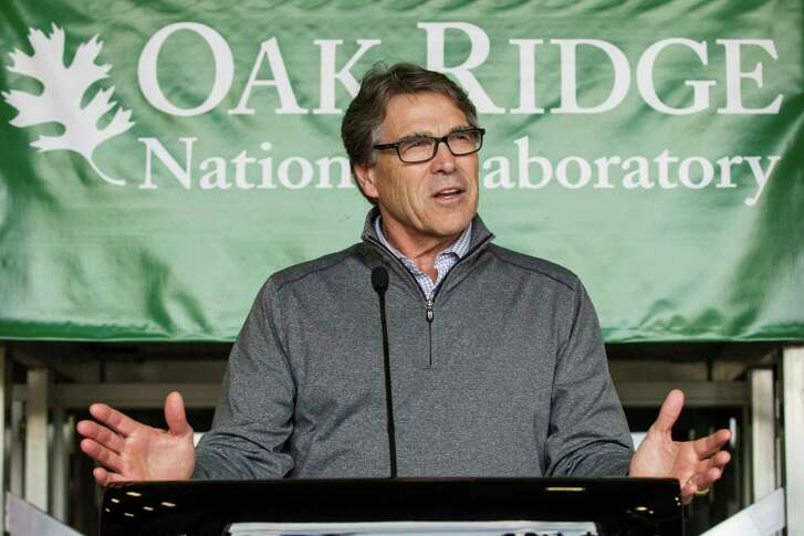 FILE - In this May 22, 2017 file photo, Energy Secretary Rick Perry speaks at Oak Ridge National Laboratory's Manufacturing Demonstration Facility in Knoxville, Tenn. (AP Photo/Erik Schelzig, File)