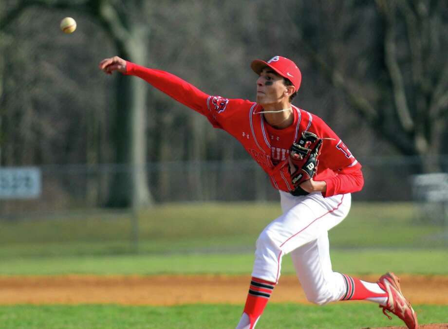 Adam Stone pitches for Fairfield Prep during a game against Trumbull on April 5 in Trumbull. Photo: File Photo / Christian Abraham / Hearst Connecticut Media / Connecticut Post