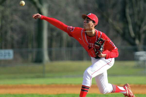 Adam Stone pitches for Fairfield Prep during a game against Trumbull on April 5 in Trumbull.