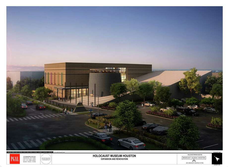 A rendering of the expanded Holocaust Museum Houston shows the addition of a three-story, 35,000-square-foot building. The gray cylinder will get a new roof opening, letting in natural light. Photo: PGAL