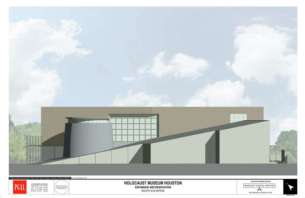A rendering of the expanded Holocaust Museum Houston. The project will replace an existing space with a rectangular, three-story, 35,000 square-foot structure adjacent to a ramp-shaped existing wing. Construction begins in October and is expected to be completed by early 2019. Photo: PGAL