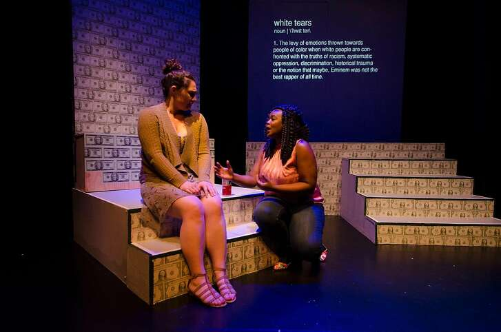 """From left: Ashley Gennarelli and Luna Malbroux�in FaultLine Theater's """"How To Be a White Man."""""""