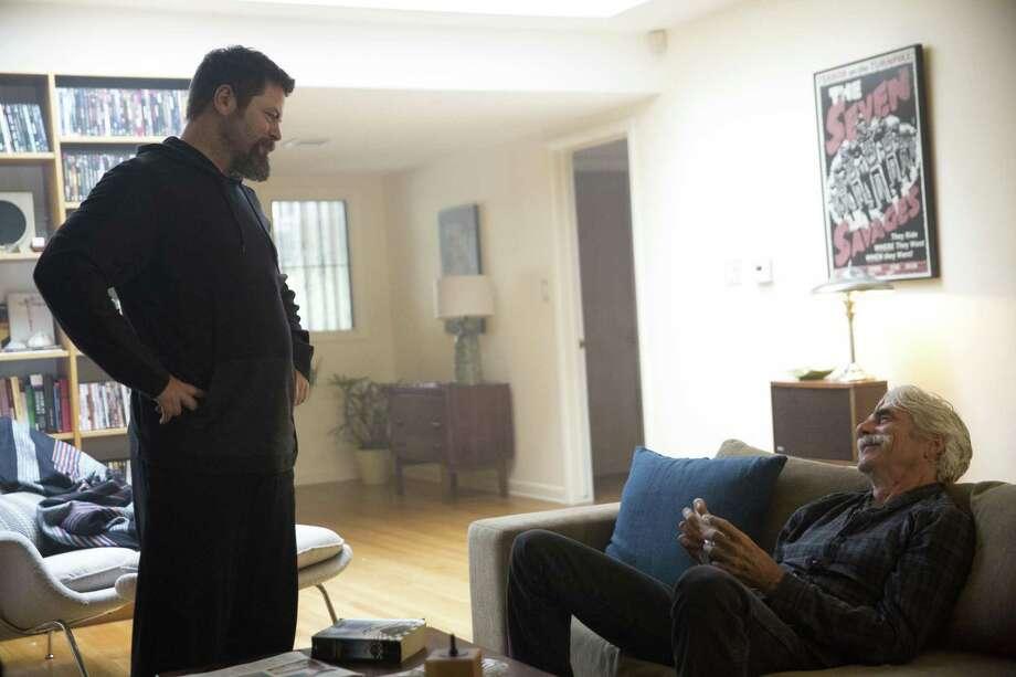 "Nick Offerman (left) plays a drug dealer to Sam Elliott's cowboy actor in ""The Hero."" MUST CREDIT: The Orchard Photo: Beth Dubber / The Orchard / The Orchard"