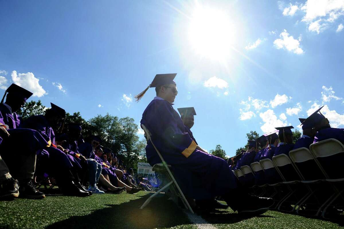 Photos from the Westhill High School graduation on the football field behind the school in Stamford, Conn. on Tuesday, June 20, 2017.