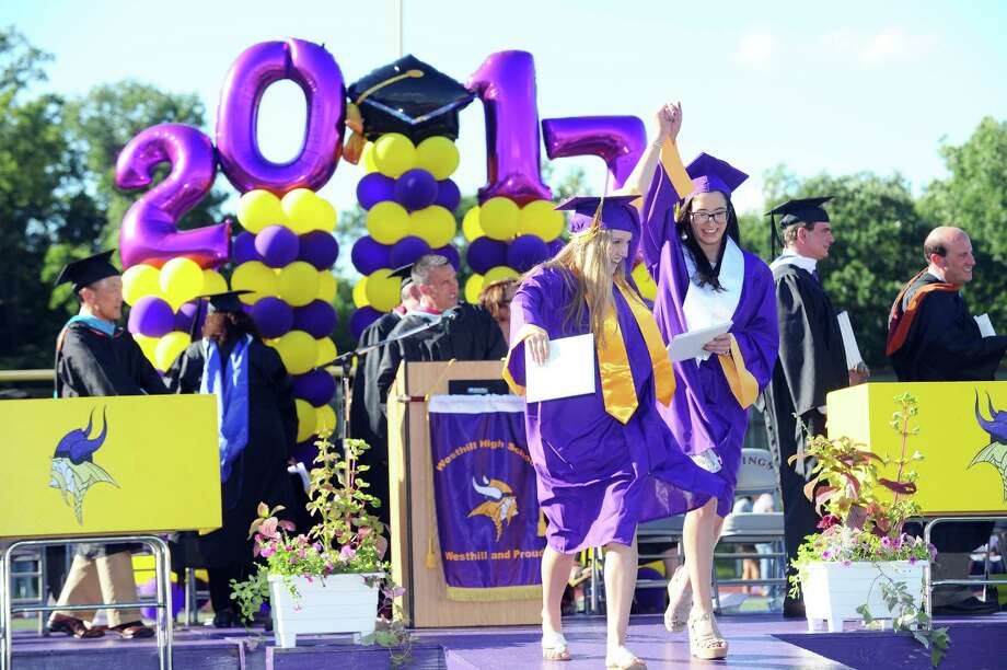 Photos from the Westhill High School graduation on the football field behind the school in Stamford, Conn. on Tuesday, June 20, 2017. Photo: Michael Cummo, Hearst Connecticut Media / Stamford Advocate