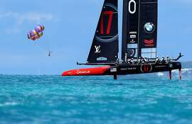 HAMILTON, BERMUDA - JUNE 20:  ORACLE TEAM USA practices for the America's Cup Final on the Great Sound on June 20, 2017 in Hamilton, Bermuda. America's Cup racing starts back up next weekend. Emirates Team New Zealand leads ORACLE TEAM USA 3-0.  (Photo by Ezra Shaw/Getty Images)