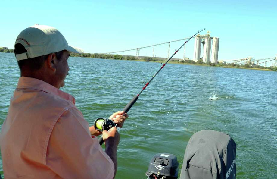 A hook up within sight of the coal-fired CPS Energy plant gives Leo Saenz some good blue catfish action during a trip with Guide Manny Martinez at Calaveras Lake. Photo: Ralph Winingham / For The Express-News