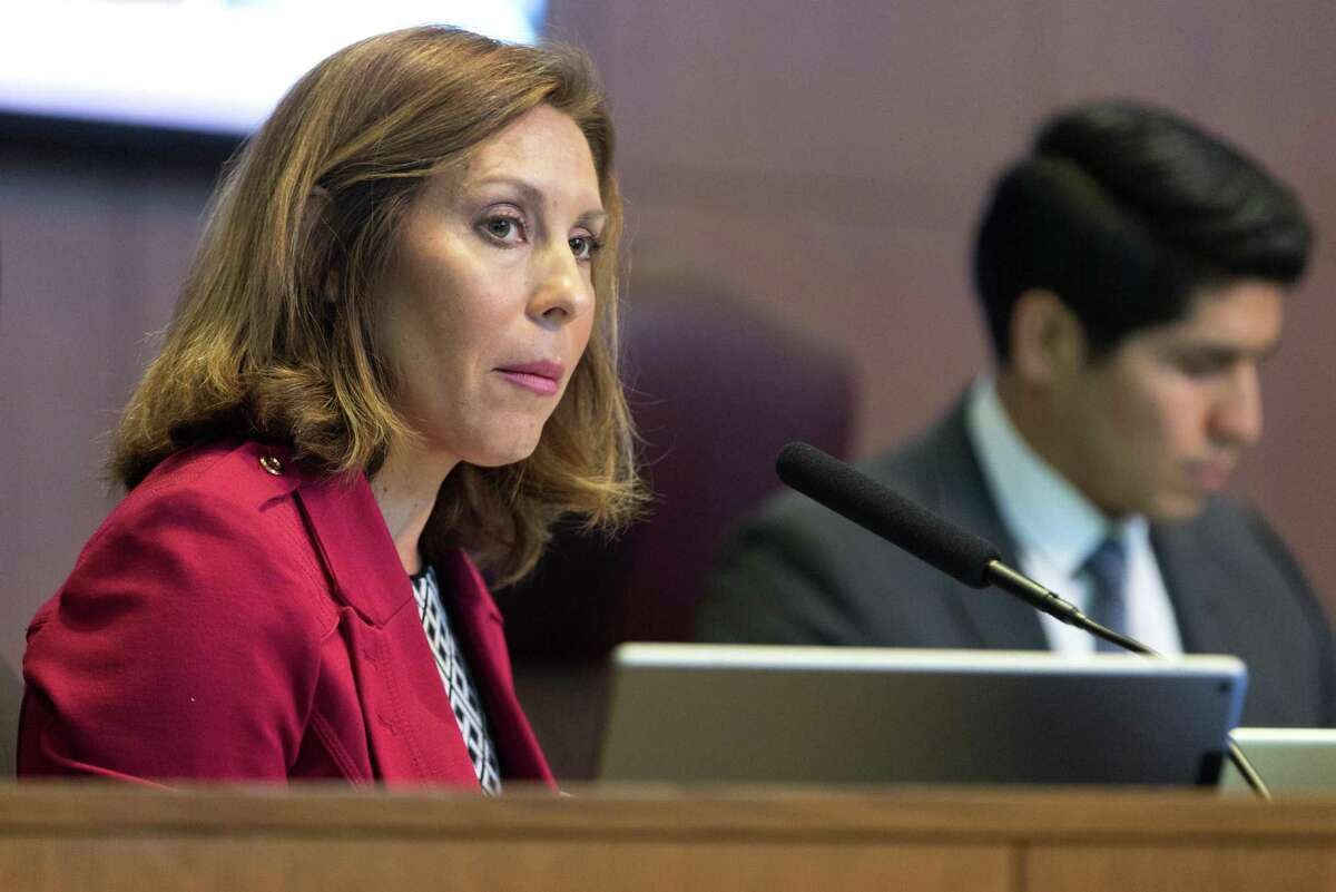 City council member Shirley Gonzales speaks Thursday Dec. 1, 2016 about her concerns with the commercial annexation plan of a section of far-north US 281.