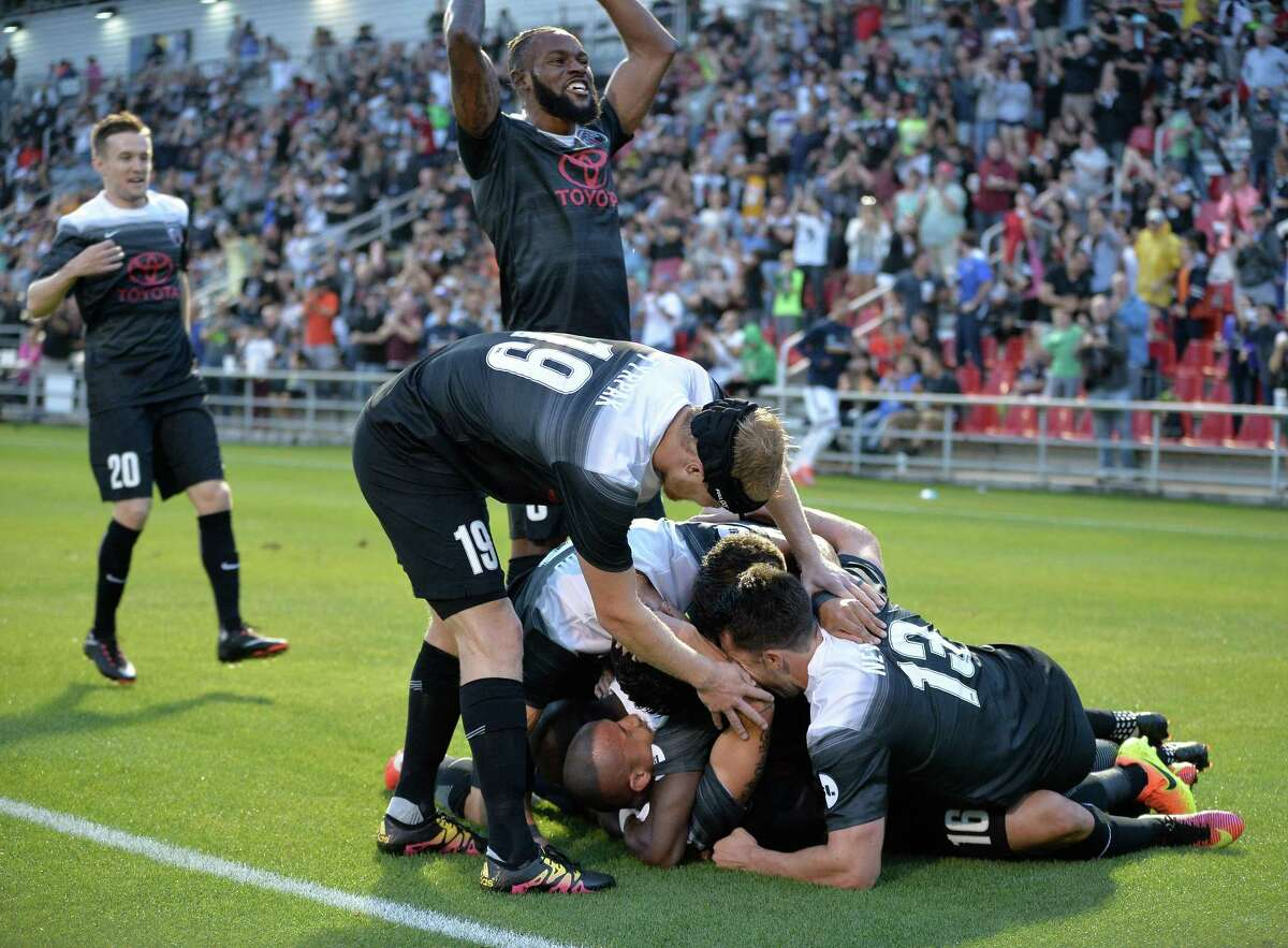 SA FC players celebrate after a goal during the first half of a USL soccer match between LA Galaxy II and San Antonio FC, Saturday, April 1, 2017, at Toyota Field in San Antonio, Texas. (Darren Abate/USL)