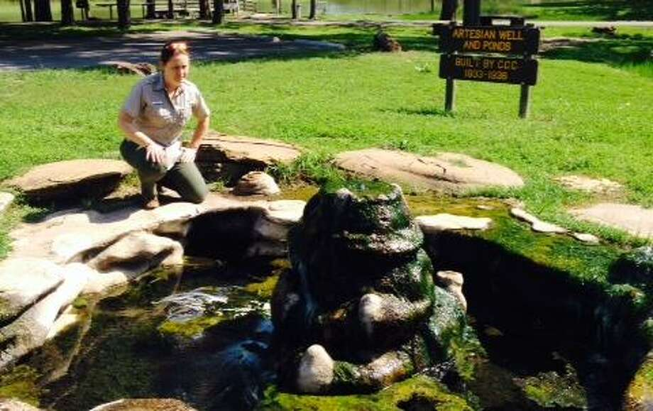 A park ranger poses at small pool near the lake at Palmetto State Park. Photo: Express-News File Photo / San Antonio Express-News