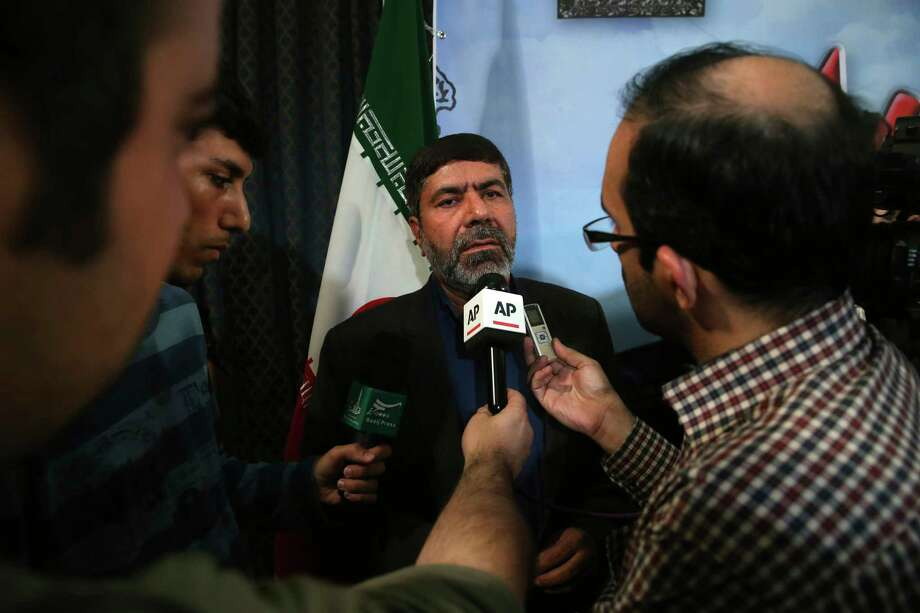 "The spokesman of Iran's Revolutionary Guard, Gen. Ramazan Sharif speaks with media members at the conclusion of his press conference in Tehran, Iran, Tuesday, June 20, 2017. Sharif, said all six ballistic missiles it launched on Syria hit their targets, according to ""local sources and drone films."" Iran fired ballistic missiles at IS targets in eastern Syria, in the province of Deir el-Zour, later on Sunday. (AP Photo/Vahid Salemi) Photo: Vahid Salemi, STR / Copyright 2017 The Associated Press. All rights reserved."