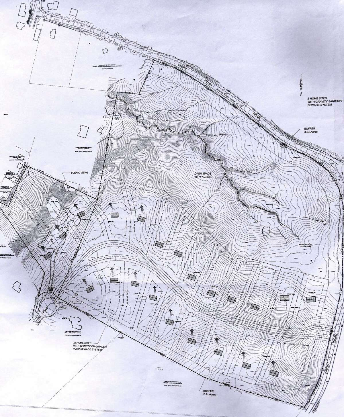 Site plan for a proposed development between Hill and Cedar Bluff Roads on Monday, April 24, 2017, in Stillwater, N.Y. Neighbors are upset with developer John Witt?'s plans to clear cut trees from the property. They believe that it would create an ecological disaster for the lake and water table. (Will Waldron/Times Union)