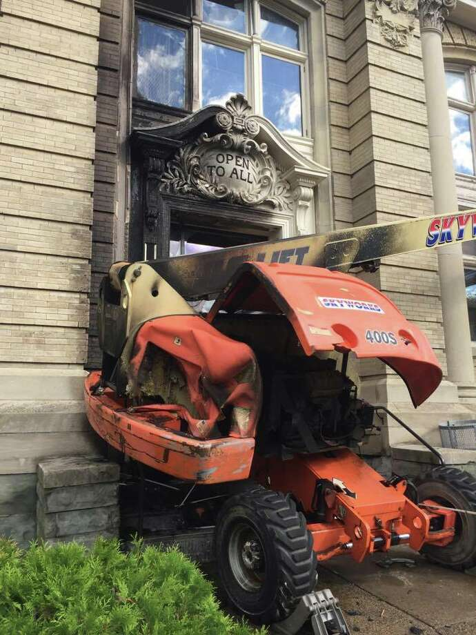 Amsterdam Free Library was damaged by fire early Tuesday June 20, 2017. It reopens Friday, June 23. (Photo submitted) Photo: Amsterdam Library Fire