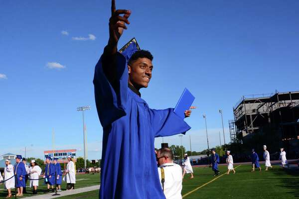 Ahmid Chaudhry recieves his diploma during the Danbury High Schools Commencement Exercises that were on Tuesday June 20, 2017.