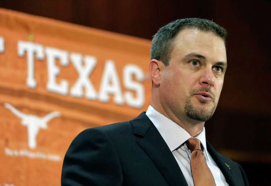 FILE - In this Nov. 27, 2016, file photo, Tom Herman talks to the media during a news conference where he was introduced as coach of the Texas college football team. Considering all the hype about Herman, there will not be much of a grace period for him in Austin. Former coach Charlie Strong left behind a pretty good roster and told the world that the Longhorns would win 10 games in 2017 no matter who is coaching. (AP Photo/Eric Gay, File) Photo: Eric Gay, STF / Stratford Booster Club
