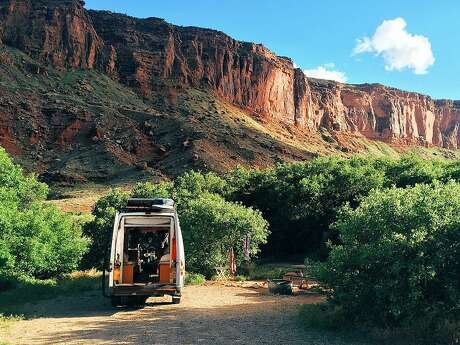 A view of the van in Moab, Utah where Linder and Hollen camped out last year. Photo: Courtesy Juliana Linder