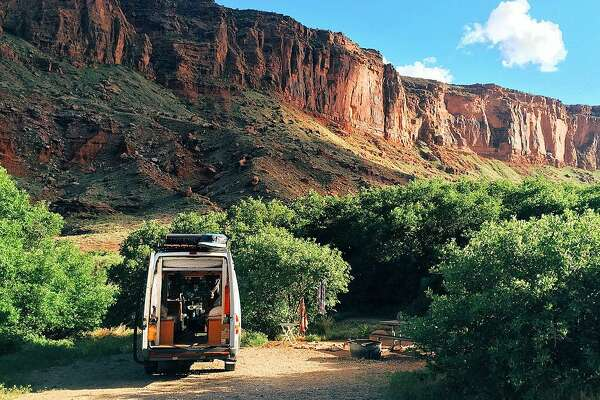 A view of the van in Moab, Utah where Linder and Hollen camped out last year.