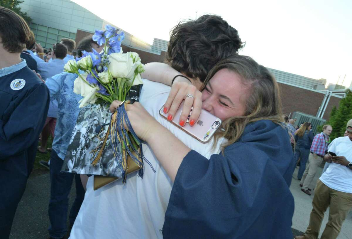 Family and friends gather to watch the class of 2017 graduate at Weston High School's Forty-Seventh Annual Commencement at Weston High School on Tuesday June 20, 2017 in Weston Conn.
