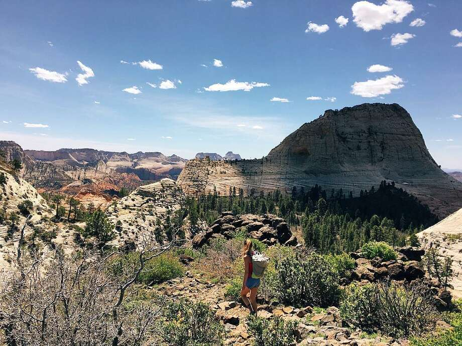 Linder is seen in the foreground of this photo taken at Zion National Park, one of the stops during Linder and Hollen's road trip. Photo: Courtesy Juliana Linder