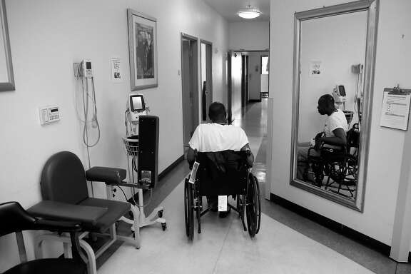 Respite patient James Houston makes his way around the San Francisco Department of Health Medical Respite and Sobering Center, in San Francisco, Ca., on Thursday June 8, 2017.