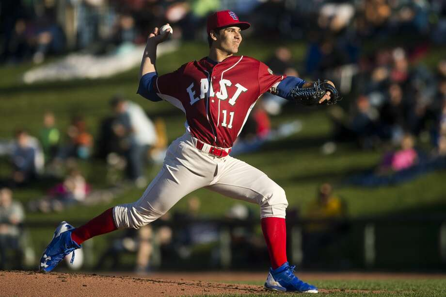 Dylan Cease of South Bend pitches during the Midwest League All Star Game on Tuesday, June 20, 2017 at the Dow Diamond. Photo: Katy Kildee | Kkildee@mdn.net