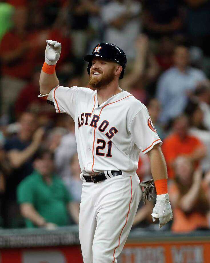 Derek Fisher had a .381 on-base percentage and .611 slugging percentage in his first MLB trial. Photo: Karen Warren, Staff Photographer / 2017 Houston Chronicle