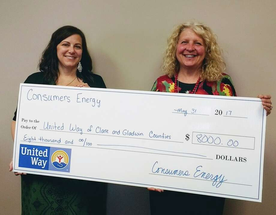 United Way of Clare and Gladwin Counties Executive Director Jennifer Long, left, poses with Consumers Energy Community Affairs Regional Manager Harmony Nowlin.